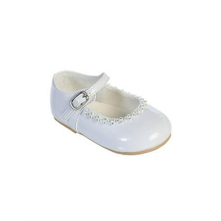Little Girls White Glitter Rhinestone Accents Mary Jane Dress - Glitter Mary Jane