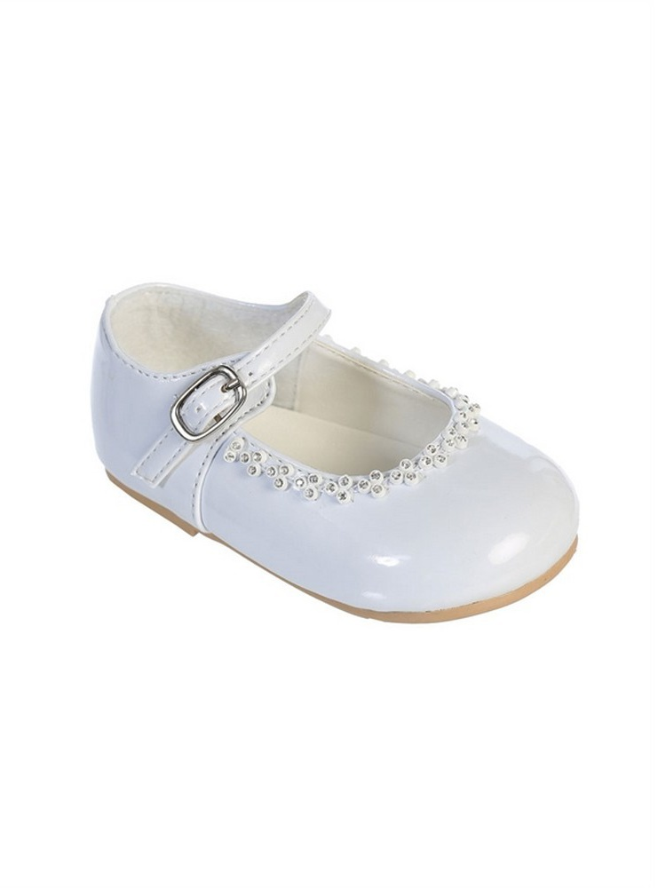 Little Girls White Glitter Rhinestone Accents Mary Jane Dress Shoes