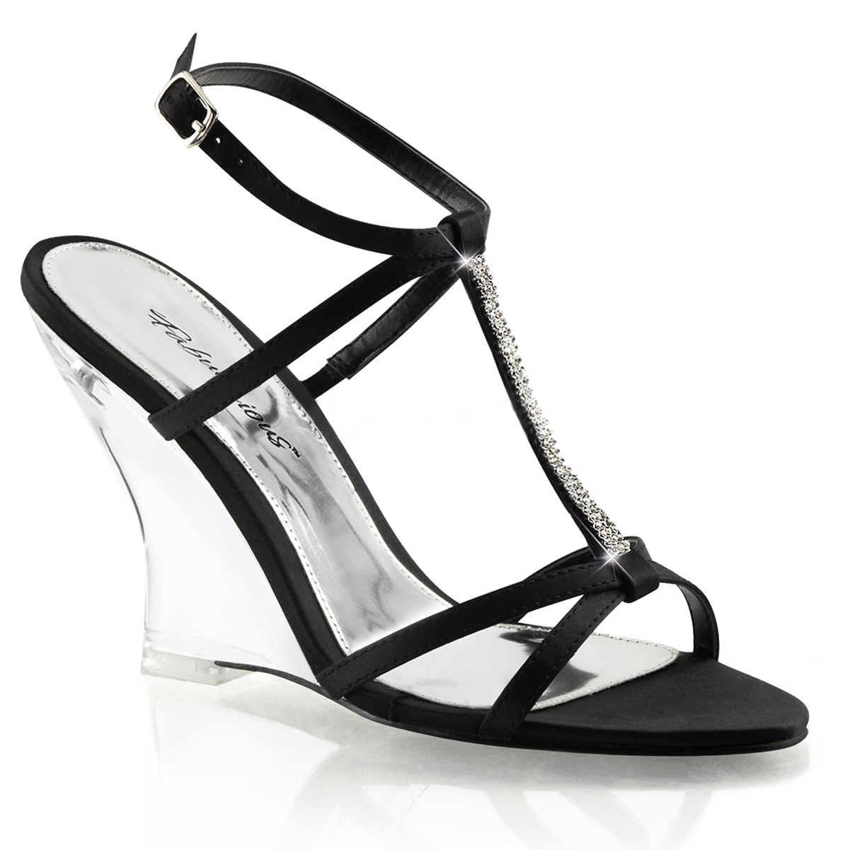 Womens Strappy Black Wedge Sandals Shoes with Rhinestones and 4'' Clear Heels