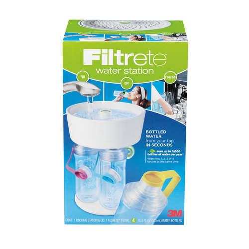 Filtrete 4-Bottle Water Station with Multicolored Bottle Tops, White