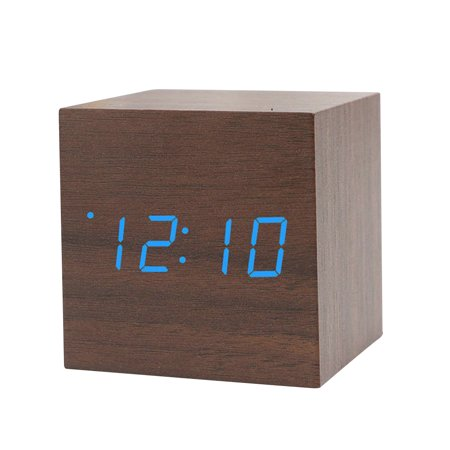 Sound Control Wooden Square LED Alarm Clock Desktop Table Digital Thermometer Timer USB AAA Date Display (Square Desk Clock)