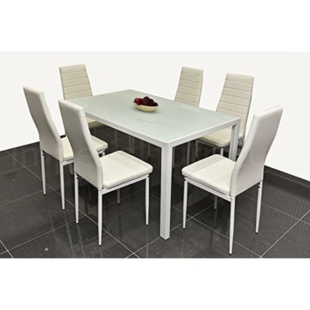 7 Piece Glass Top Rectangular Dining Table and 6 Side ...