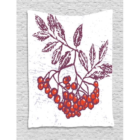 80s Themed Food Ideas (Rowan Tapestry, Artistic Berry Bunch Hand Drawn Seasonal Fruit Natural Organic Food Theme, Wall Hanging for Bedroom Living Room Dorm Decor, Purple Orange White, by)