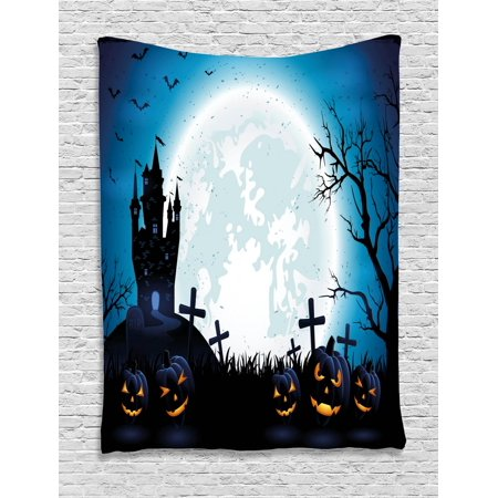 Halloween Tapestry, Spooky Concept with Scary Icons Old Celtic Harvest Figures in Dark Image Holiday Print, Wall Hanging for Bedroom Living Room Dorm Decor, Blue, by Ambesonne](Halloween Celte)