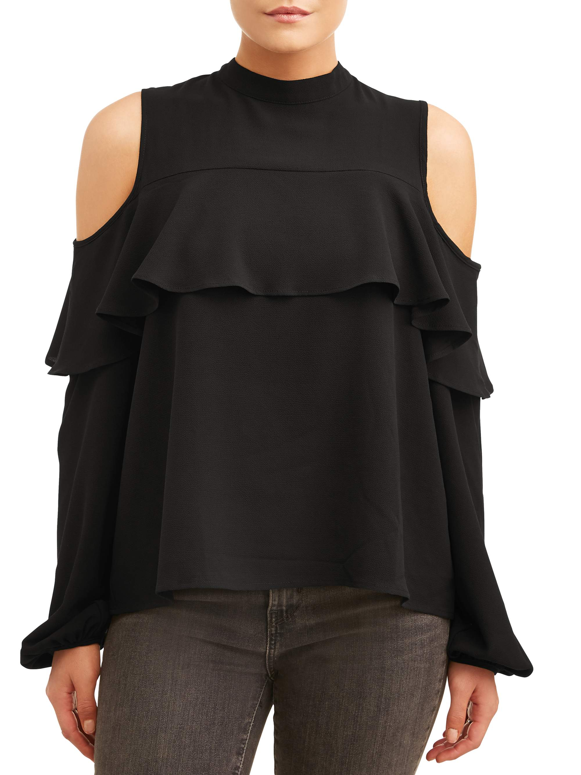 L.N.V. Women's Cold Shoulder Ruffle Top