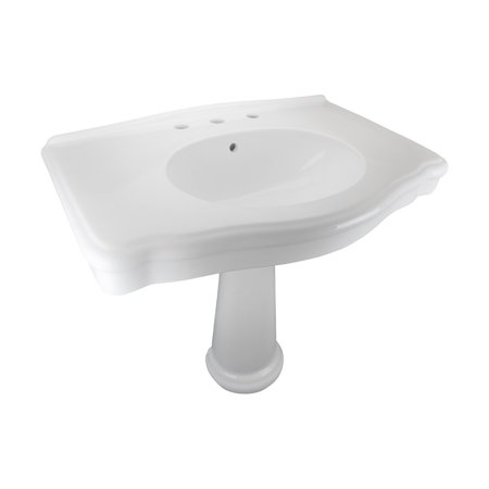 White China Pedestal Sink Widespread Faucet Holes with Overflow (Sheffield Pedestal)
