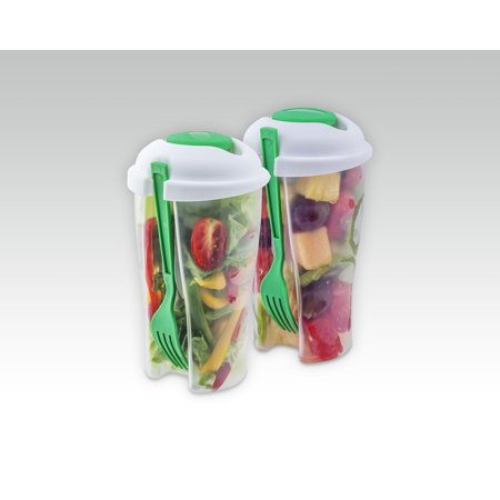 Salad To Go Cup with Fork (2 sets) Fork Cup Set