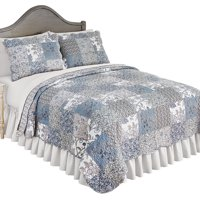 Beautiful Reversible Alice Floral Patchwork Quilt Bedding with Scalloped Edges