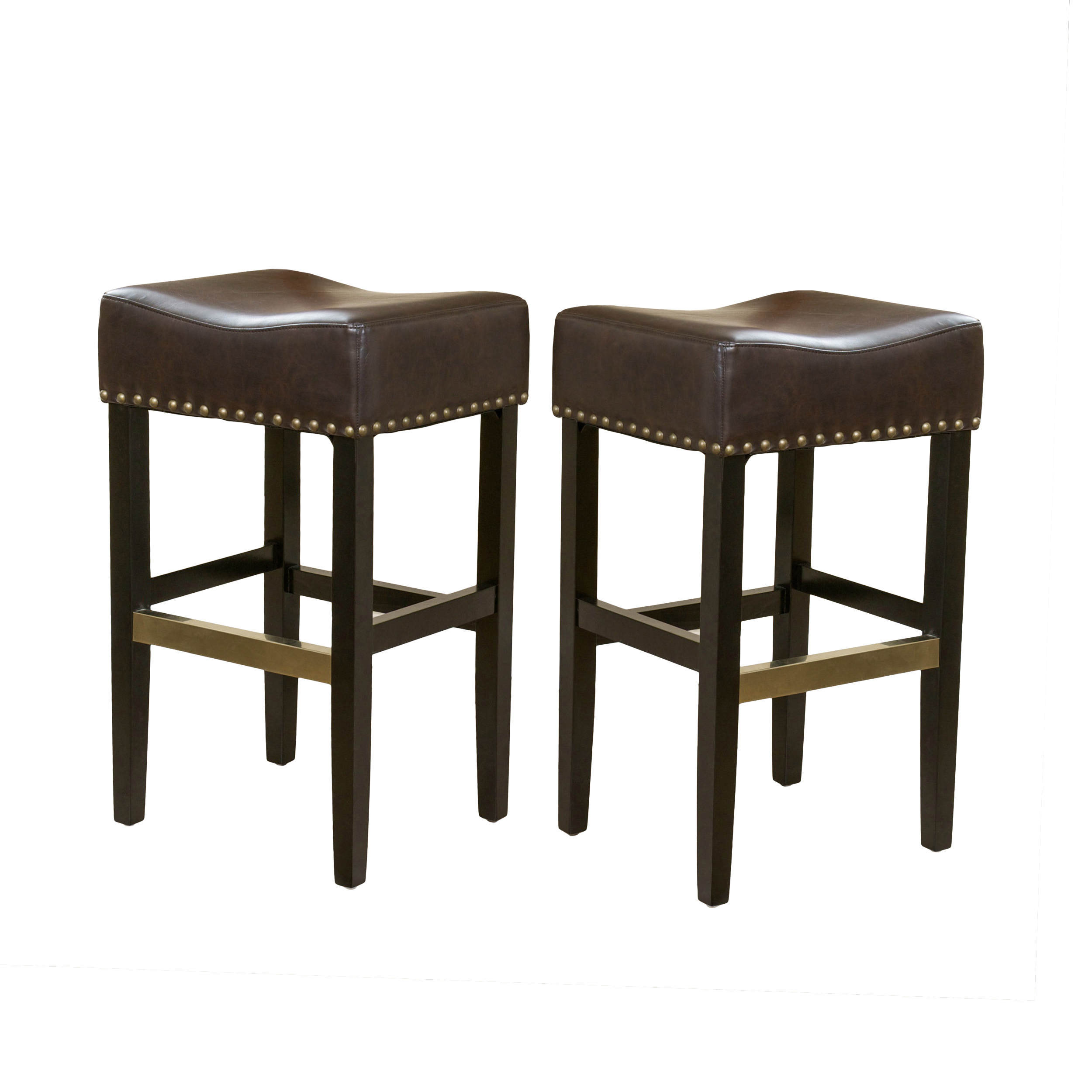 Kitchen Bar Stools Walmart: Erika Brown Backless Leather Bar Stool (Set Of 2