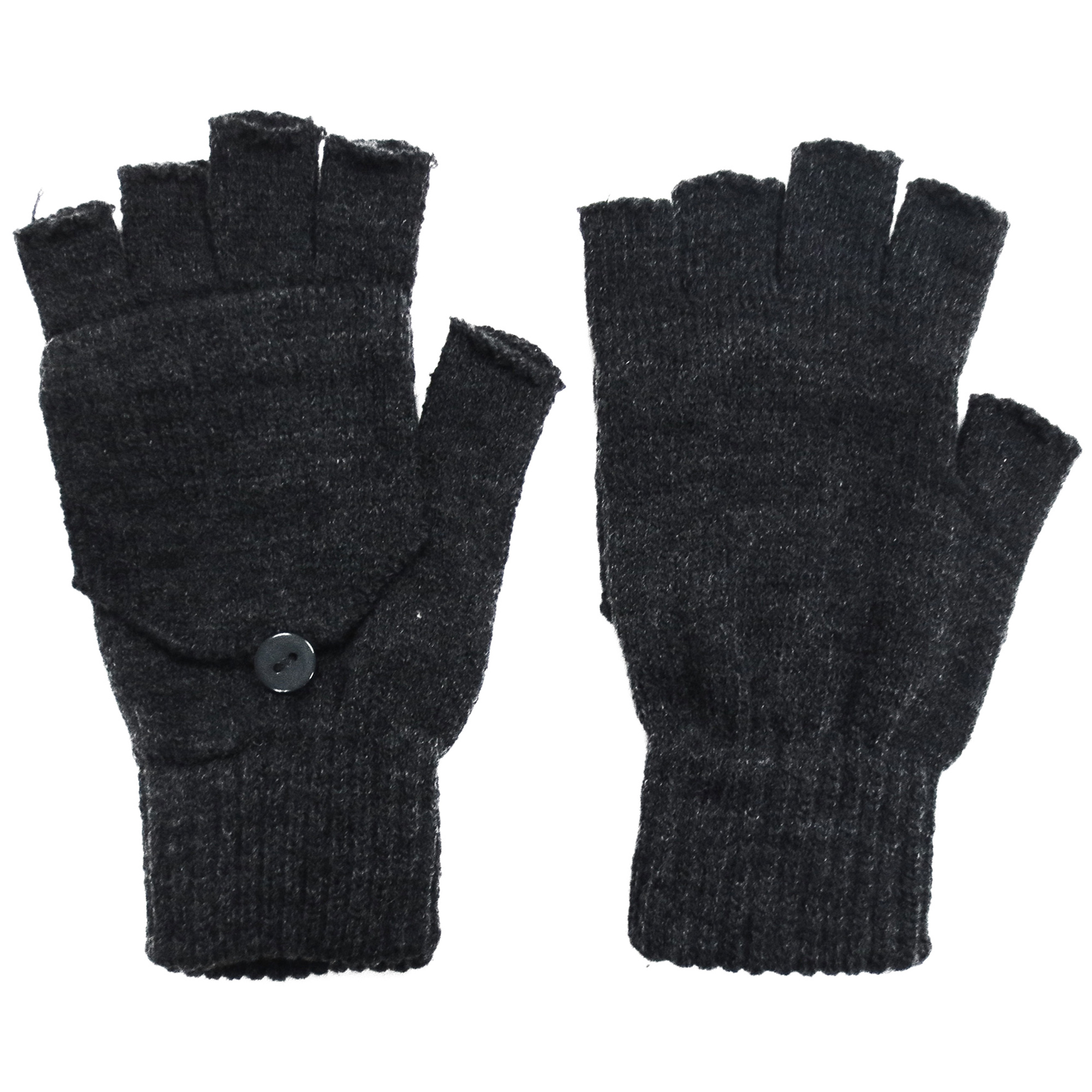 Winter Fingerless Gloves with Flap Cover Mitten Gloves, 56_Charcoal
