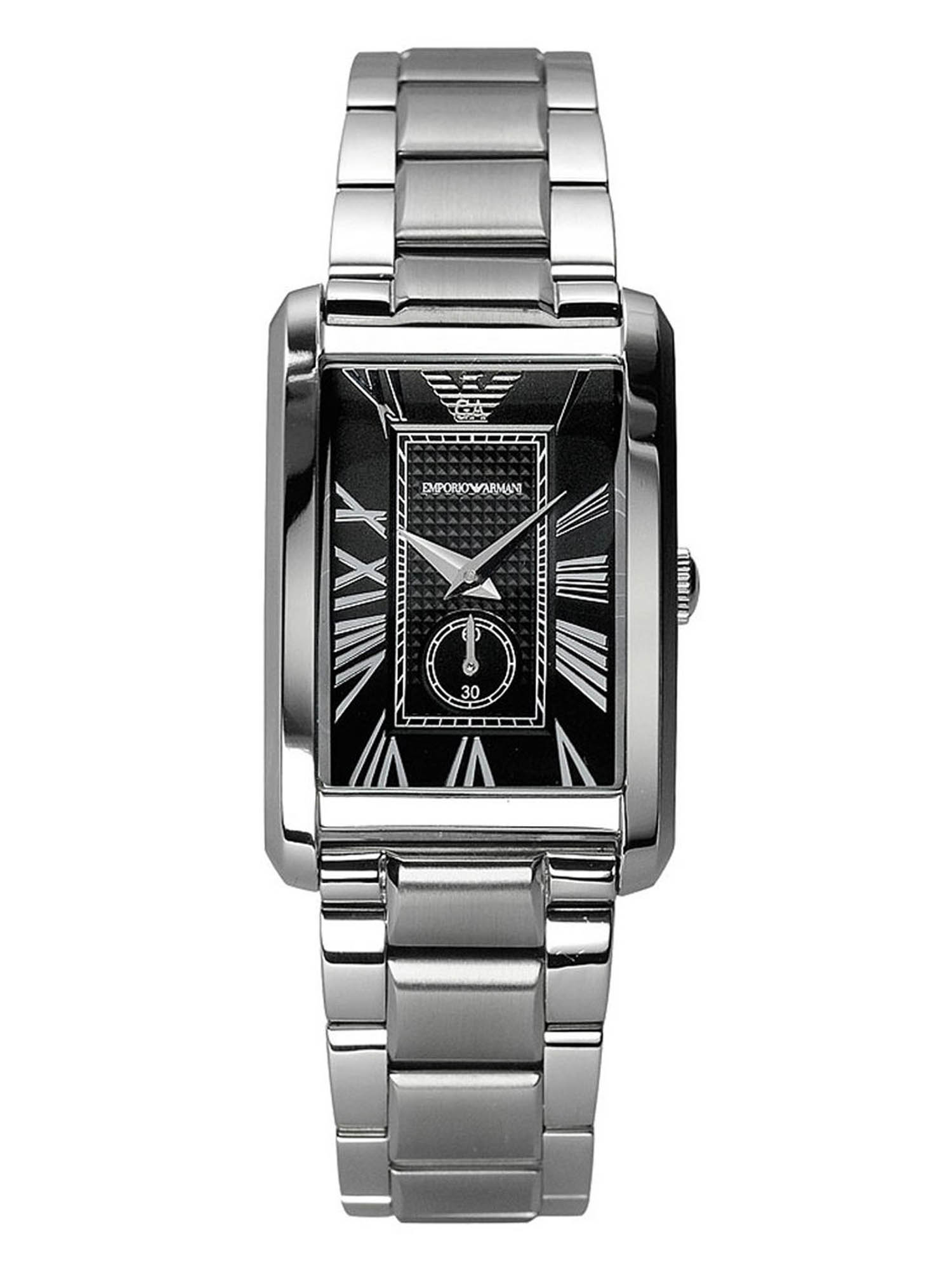 Emporio Armani Women's Black Dial Stainless Steel Watch AR1638