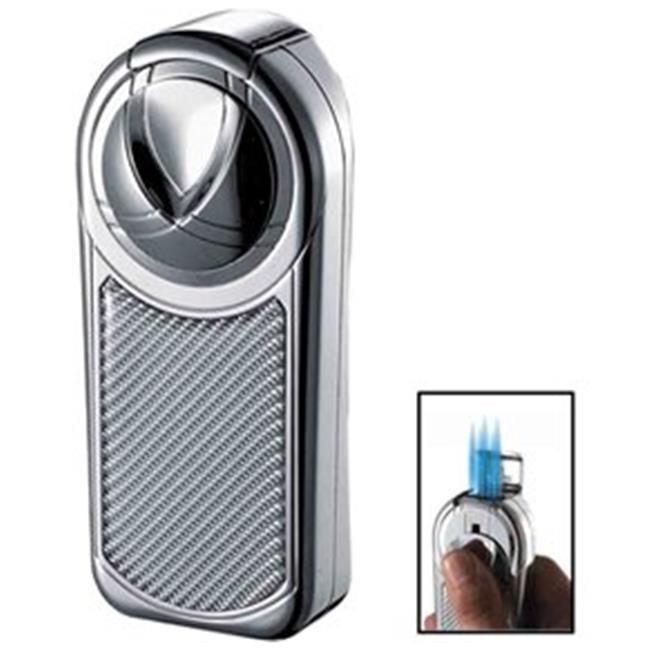 Dobrev V Quintuple Jet Flame Chrome and White Carbon Fiber Table Lighter - image 1 of 1