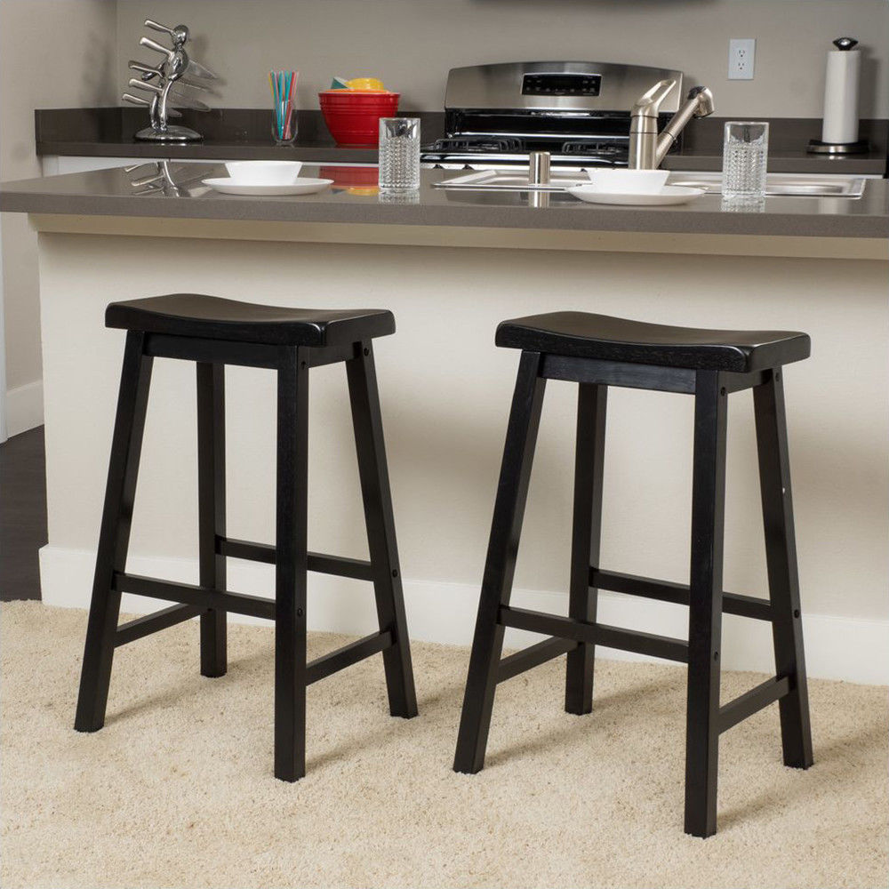 Outopee bar stools 29 kitchen dining room saddle stool seat counter black walmart com