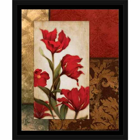 Pattern Framed - Flowers on Four Panel Damask Ornate Patterns Floral Painting Red & Tan, Framed Canvas Art by Pied Piper Creative