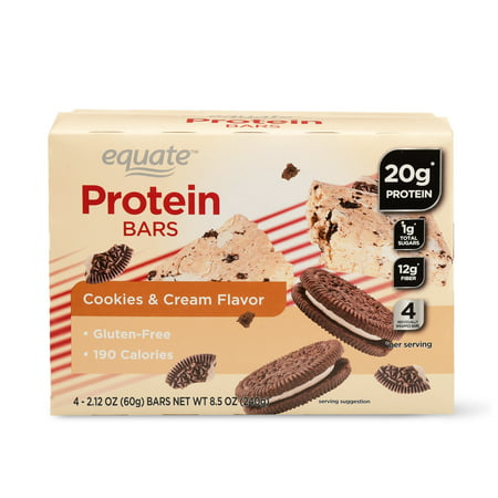 Diet Bar Cookie - Equate Protein Bars, Cookies & Cream Flavor, 20g Protein, 4 Count
