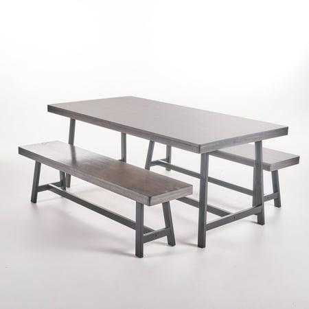 Meriadoc 3 Piece Finished Rubberwood Foldable Dining Set, Grey ()