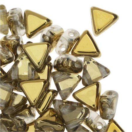 Crystal Dorado 9 Gram Kheops Par Puca 6mm 2 Hole Triangle Czech Glass, Loose Beads,