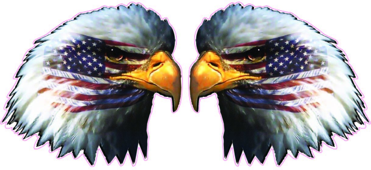 "American Flag Eagle Head Pair 5"" Decal Free Shipping in the United States. by NOSTALGIA DECALS"