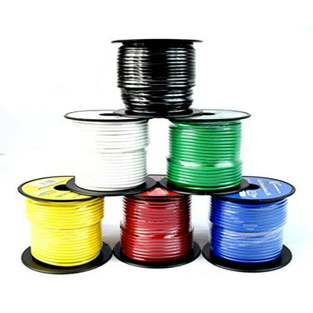Stranded Ultra Flexible Single Conductor (14 ga single conductor stranded remote wire 6 rolls primary colors 12v 100'ft ea)
