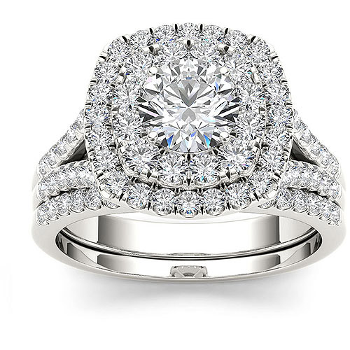 Imperial 2 Carat T.W. Diamond Double Halo 10kt White Gold Engagement Ring