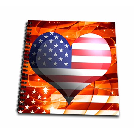 3dRose United States of America USA Flag Heart On Orange Sparkle Fractal Background Fourth Of July Design - Drawing Book, 8 by 8-inch