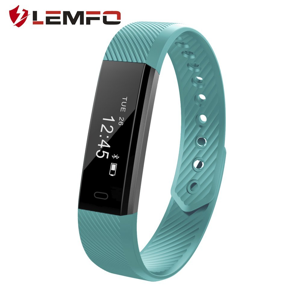 Fitness Tracker, ID115 Smart Bluetooth Wristband Pedometer Smart Bracelet Sleep Monitor, Waterproof Activity Smart Watch with Replacement Band for Android & iOS