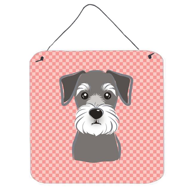 Checkerboard Pink Schnauzer Aluminum Metal Wall Or Door Hanging Prints, 6 x 6 In.