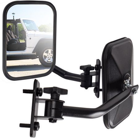 Side Mirror For Jeep Wrangler (Driver & Passenger Side) Quick Release With Adjustable Arms - Rectangular, Black