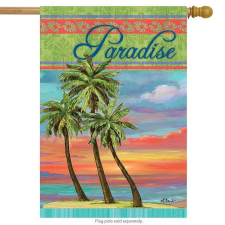 Paradise Summer House Flag Tropical Island Palm Trees 28