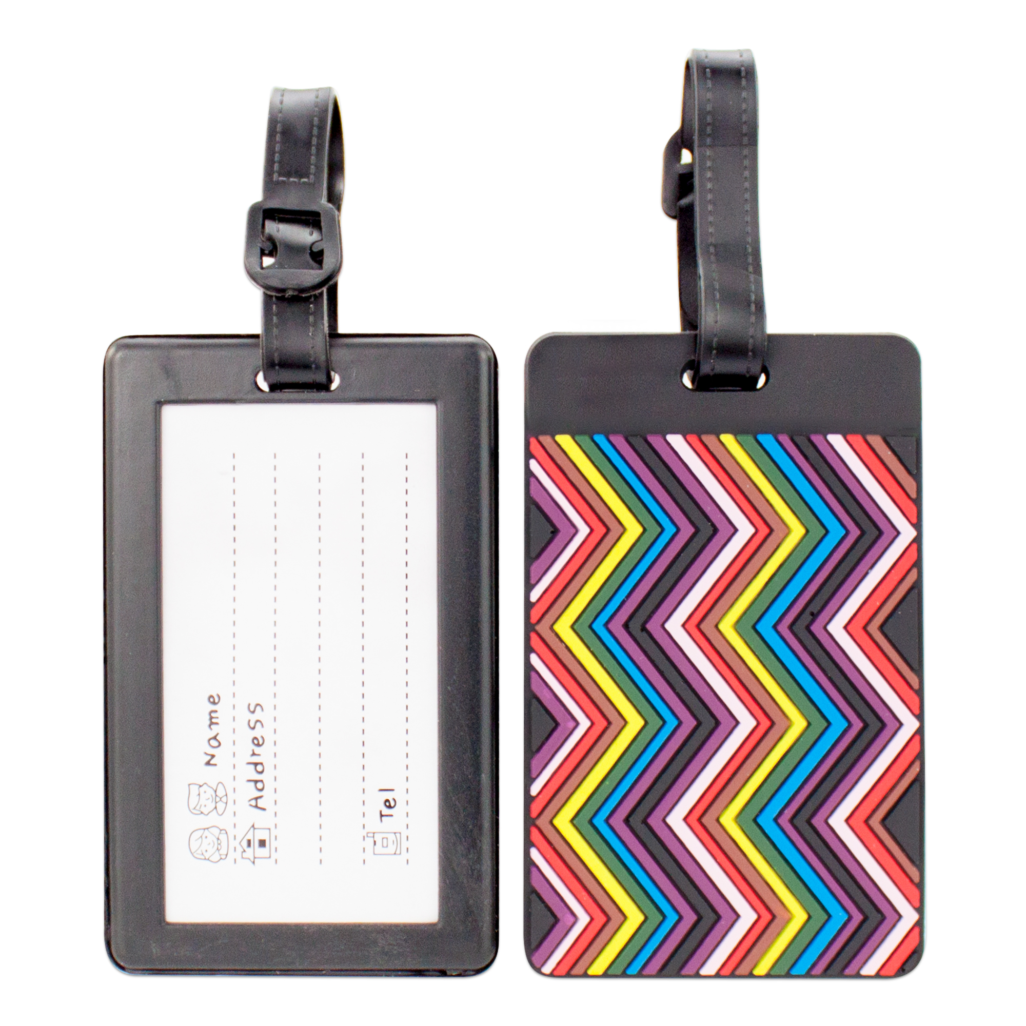 Miami CarryOn Colorful Luggage Tags/Card Holder/Bag Tags/ID Tags - 2 Set (Rainbow Zigzag)