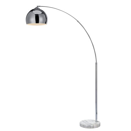 Versanora - Arquer Arc Floor Lamp with Chrome Finished Shade and White Marble -