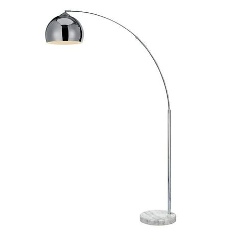 Versanora Arquer Arc Metal Floor Lamp with Bell Shade, 67u0022, Chrome