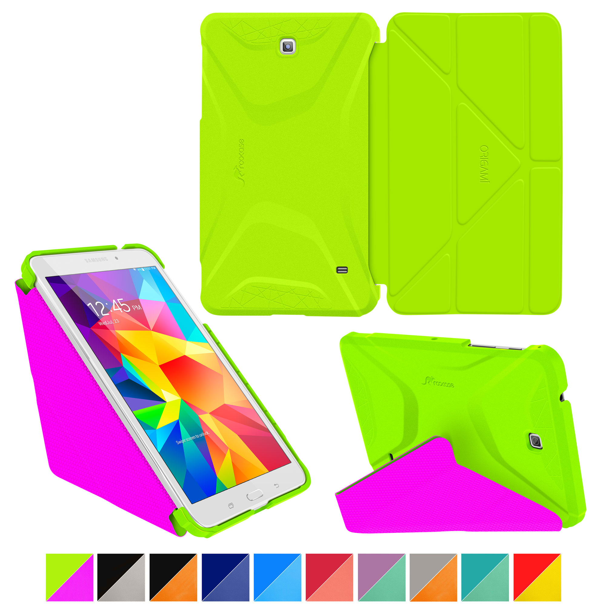 Galaxy Tab 4 8.0 Case, Samsung Galaxy Tab 4 8.0 Case, Origami Slim Shell Lightweight Folio Leather PU Case Smart Stand Tablet Cover - Green/Pink