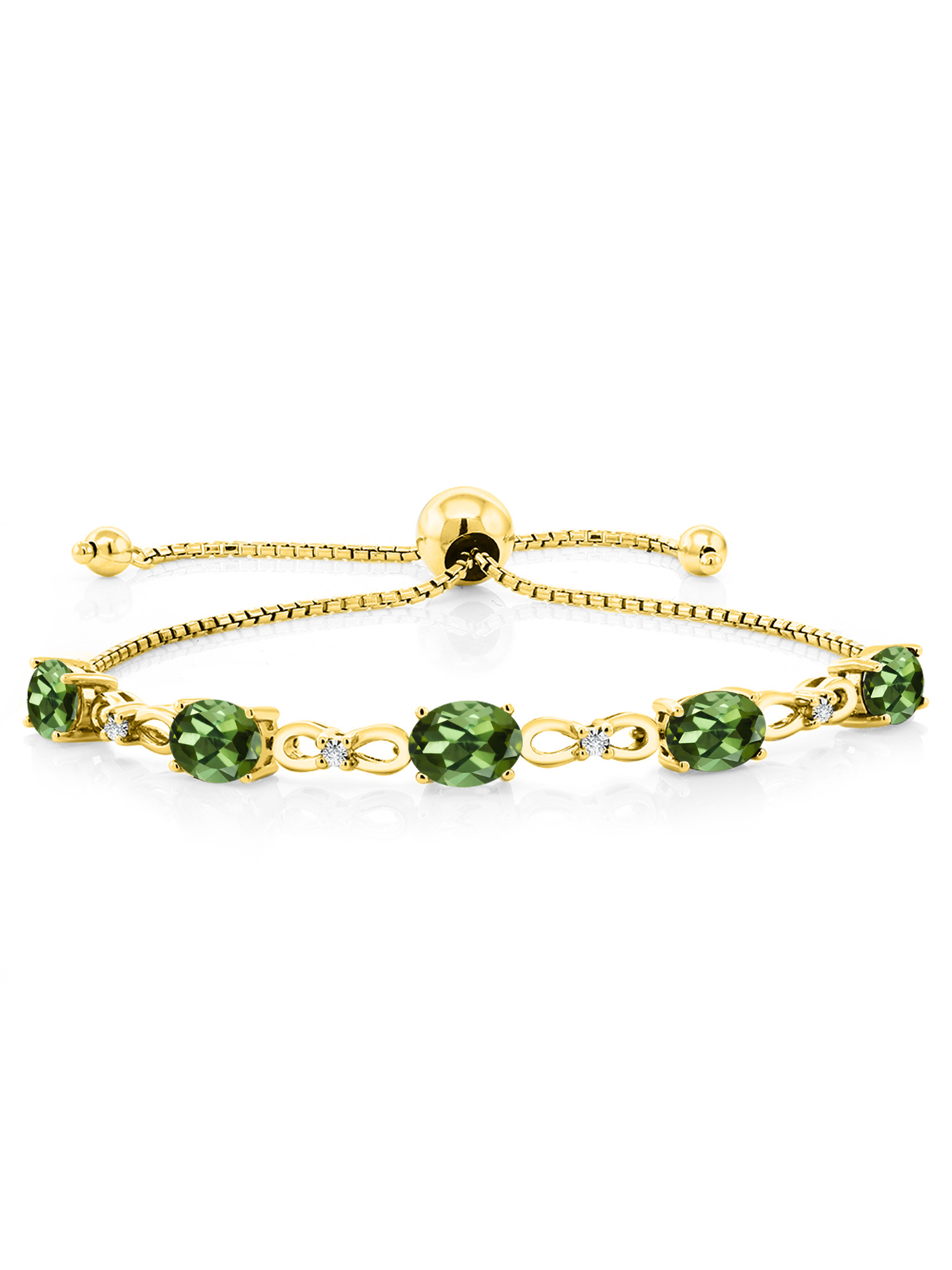 3.50 Ct Oval Green Tourmaline 18K Yellow Gold Plated Silver Diamond Bracelet by