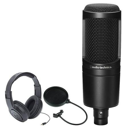 Audio Technica Cardioid Headset - Audio-Technica AT2020 Cardioid Condenser Studio Microphone + Samson SR350 Over-Ear Stereo Headphones + CAD Audio EPF-5A VP 1 Pop Filter 6 on 14-Inch Gooseneck