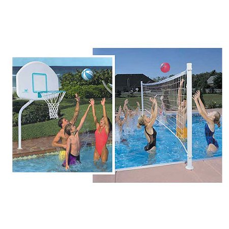 Dunnrite Deckcombo Swimming Pool Basketball And Volleyball Combo Set With Stainless Steel Rim