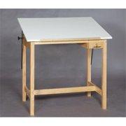 SMI U3042-37A Unfinished Oak Wood Drafting Table, 30 X 42 in.