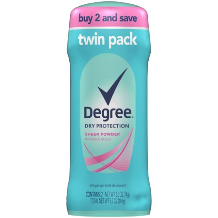 (4 count) Degree Women Sheer Powder Dry Protection Antiperspirant Deodorant, 2.6 oz, 2 Twin