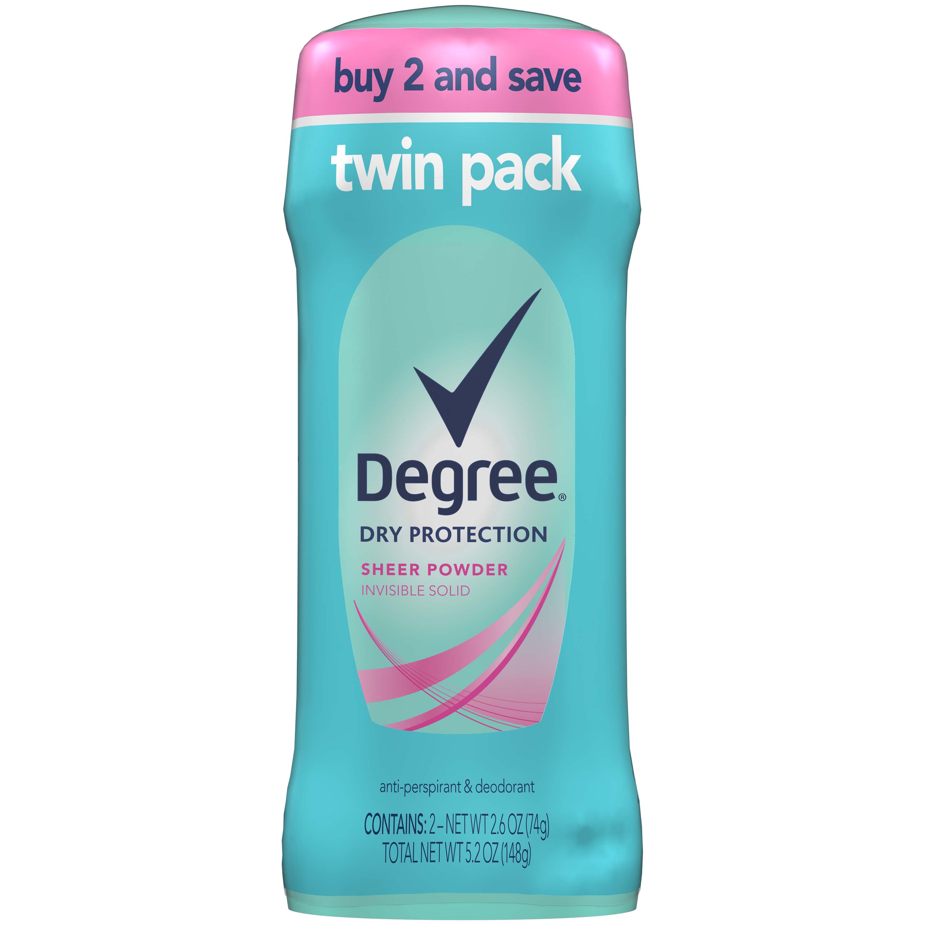 Degree Women Sheer Powder Dry Protection Antiperspirant Deodorant, 2.6 oz, Twin Pack