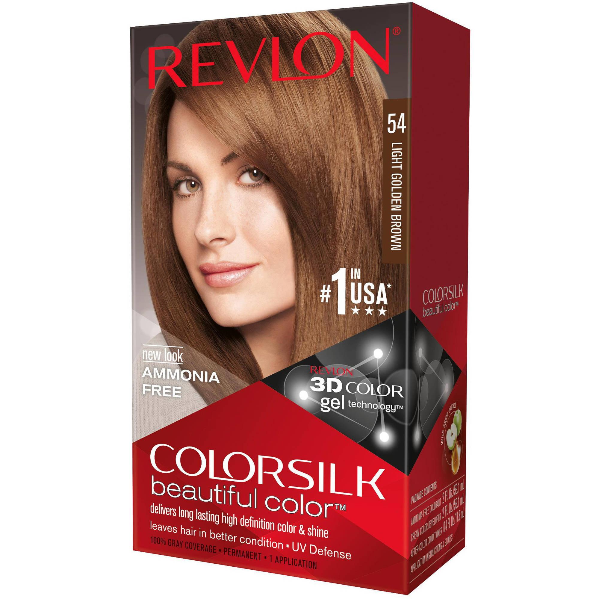 Revlon Colorsilk Beautiful Color Permanent Hair Color, 54 Light Golden Brown