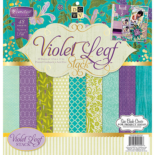 "Die-Cuts with a View 12"" x 12"" Violet Leaf Paper Stack, 48 Sheets"