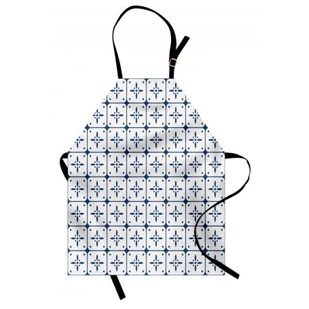 Dutch Apron Classical Holland Delft Pattern with Checkered Squares with Flower Motifs, Unisex Kitchen Bib Apron with Adjustable Neck for Cooking Baking Gardening, Dark Blue and White, by Ambesonne