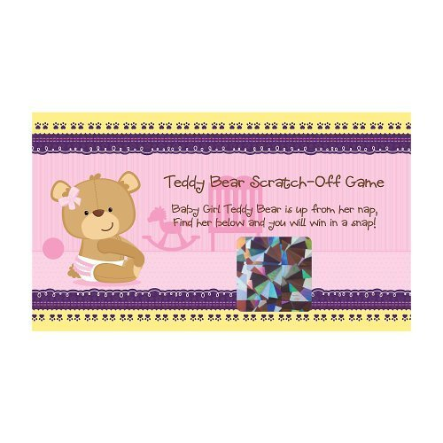 Baby Girl Teddy Bear - Party Game Scratch Off Cards - 22 Count