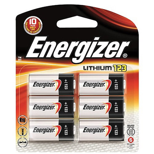 Energizer 123 Battery, 6 Pack, EL123BP