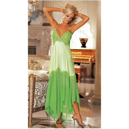 Shirley of Hollywood IS-SOH-20364 Elegant Charmeuse and Chiffon Long Gown Spring Green / XL - image 1 of 1