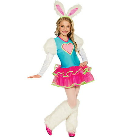 Honey Bunny Rave Monster Fluffy Girls TuTu Fancy Halloween Party Costume S-L (Fluffy Bunny Halloween Costume)