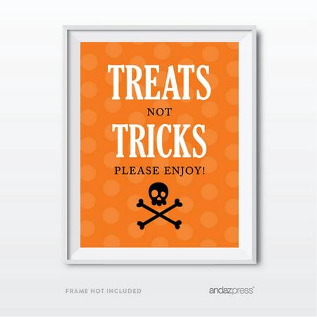 Treats & Tricks Black & Orange Classic Halloween Party Signs](Halloween No Trick Treat Sign)