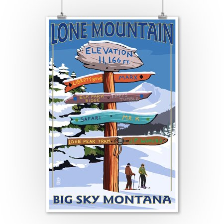 Big Sky, Montana - Lone Mountain - Ski Destinations Sign- Lantern Press Artwork (9x12 Art Print, Wall Decor Travel