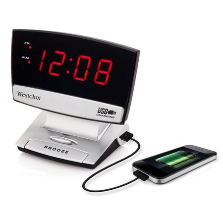 Westclox LED Display Alarm Clock with USB Charging Port- Style# 71014X