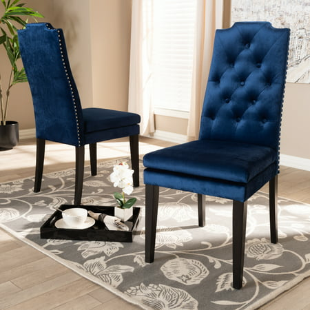 Baxton Studio Dylin Modern and Contemporary Navy Blue Velvet Fabric Upholstered Button Tufted Wood Dining Chair Set